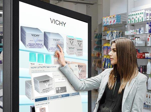K-Vision Escaparate virtual de pantalla táctil K-Vision con productos de belleza